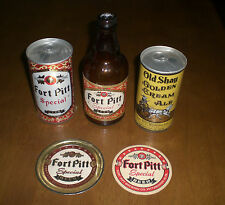 5 DIFFERENT FORT PITT OLD SHAY BEER BOTTLES  -  BEER CANS - COASTERS - VINTAGE