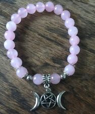 Rose Quartz crystal gemstone Triple Moon stretch Bracelet