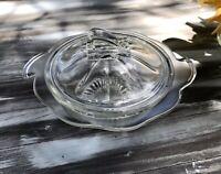 Alt Vintage 50er Pressglas Butterschale Butterglocke Butterdose Glas farblos
