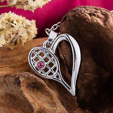 Crystal Tennis Racket Charm Necklace Sports Women Heart Racquet Pendant
