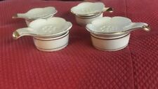 Set Of Four Japan Two Piece Teabag Holders. Gold Trim