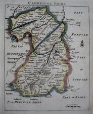 CAMBRIDGESHIRE CAMBRIDGE   BY JOHN ROCQUE GENUINE ANTIQUE ENGRAVED MAP  c1753