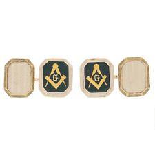 Blue Lodge Master Mason Cufflinks -14k White Gold Bloodstone Men's Masonic Gift