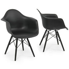 Style Black ABS Plastic Arm Chair Wooden Legs Dining Home Retro Eiffel HD