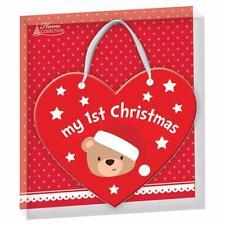 Mon 1st noël bébé en bois décoration de Noël/Noël Plaque avec ruban