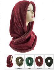 Metallic Thread Knit Infinity Scarf, Black, Green, Brown, Burgundy