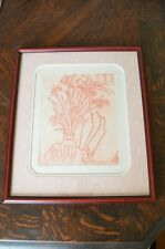 "RARE Vintage Pearce Bates Nude ""In the Pink"" s/n 8/100 - Framed Woodblock Print"