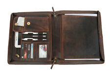 Leather Portfolio A4 Padfolio Business Organizer Case Folder Document Bag Zipper