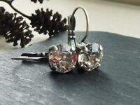 Choose Your Finish 8mm Clear Leverback Earrings with Swarovski Crystal Elements