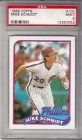 1989 Topps Mike Schmidt Third Base Philadelphia Phillies Card #100 PSA 9