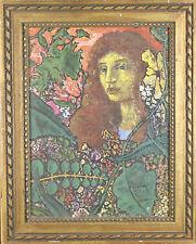 Sans Titre ( Femme Entouré de Plantes) Encadré Acrylique Peinture 50.8cmx40.6cm