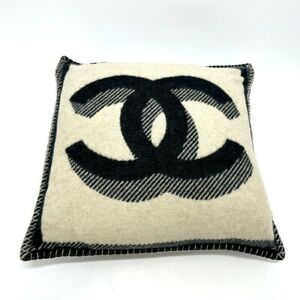 CHANEL Fabric interior cushion pillow Wool / Cashmere Black x White