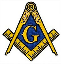 Golden Masonic Cut Out Shaped Patch For Freemasons - Blue and Gold