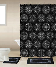 SHOWER CURTAIN MATCHING COVERED FABRIC HOOKS BATHROOM SET 13PC MANDALION