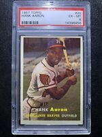 1957 Topps #20 Hank Aaron PSA 6 Milwaukee Braves HOF 4th Card Nice Vivid
