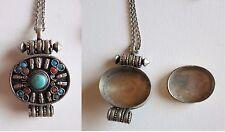 Antique Egyptian Oval Jewelry Box Locket Pendant Vintage Necklace