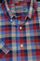 Daniel Cremieux Men's Red Beige Blue Check Cotton Casual Shirt L Large