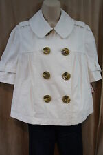 Juicy Couture Jacket Sz L White Cotton Short Sleeve Peacoat Business Casual