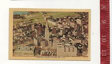 vintage Linen Post Card Aeriel View Downtown CLeveland  Ohio FREE SHIPPING
