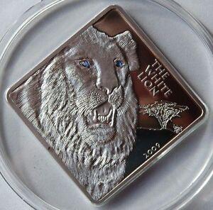 Rare 2009 Malawi Huge 2 Oz Proof Silver 50 Kwacha-White Lion w/Crystal eyes