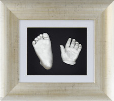 Christening Gift Baby Casting Kit Silver Hand/Feet 3D Antique Silver Box Frame