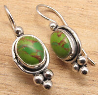 FASHION JEWELRY ! COPPER TURQUOISE Gems Deco Green Earrings , 925 Silver Plated