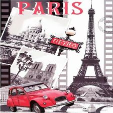 PARIS EIFFEL TOWER RED CAR IMAGE   SET OF 4 RUBBER BACKED COASTERS