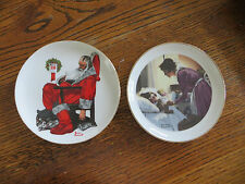 "Two Norman Rockwell Plates - Christmas, Mother's Love - 6"" Collector"