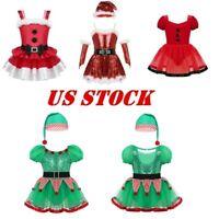 US Kids Christmas Costume Santa Dance Dress Girls Elf Fancy Xmas Skating Leotard