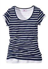 Flashlights 2x Shirt Gestreift und Uni Kurzarm Rundhals blau/weiß & weiß 36