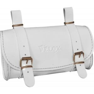 Saddlebag Saddle White Polish VELOX IN PU Leather Vintage Bike Bicycle