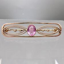 ❂ ► Schöne Jugendstil- Brosche mit rosa Stein, Gold- Double