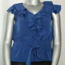 Elle Top XL Juniors Blue Textured Ruffle V-Neck Flutter Cap Drawstring Waist
