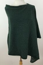 Replay Women Shaw Medium Wool Knit Green Asymmetrical Stitched Logo Winter Wrap