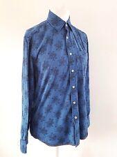 Men's long-sleeved 100% Cotton smart casual Blue Floral shirt by Boden Medium M