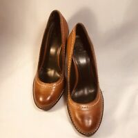 True Religion Women's 8.5 Brown Hand Made Leather Wedge Pumps Shoes