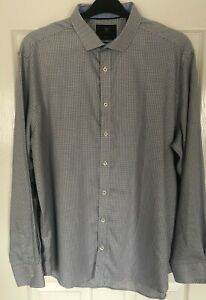 """M&S Collection Tailored Fit Grey Mix LONG SLEEVE SHIRT 17"""" Collar"""
