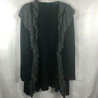 Mosca Black Women's Size: M Long Sleeve Waterfall Open Front Sweater Cardigan