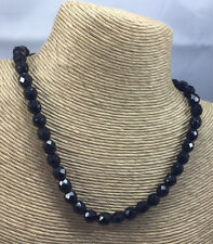 Vintage Necklace Glass Black Faceted Japanned Black Beaded Choker Button Clasp