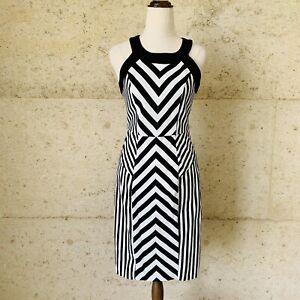 Basque Black White Chevron Midi Dress Size 6 Sleeveless Bodycon