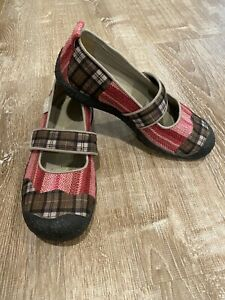 KEEN Harvest Mary Jane Slip On Fabric Shoes Women 8 Pink Brown Plaid CLEAN EUC