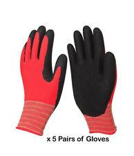 5 paia di RED polyliner & Nero Guanti in lattice per lavorare / sicurezza / protezione