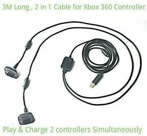 3M 9FT Charging Charge Lead USB 2 in 1 Cable for Xbox 360 Controller