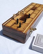 Wooden Cribbage Board With Pegs and Two Packs of Playing Cards