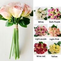 1 Bunch 9 Heads Artifical Silk Rose Flower Bouquet Wedding Party Home Decoration