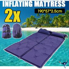 2x Self Inflating Mattress Camping Hiking Airbed Mat Sleeping w/ Pillow Bag Camp