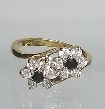 Vintage Sapphire & Zirconia Double Cluster Ring 9ct yellow gold Hallmarked