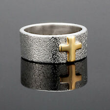 Unique modern Sterling Silver 14kt gold accent cross textured ring size 9