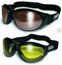 (2 Motorcycle Goggles) + Storage Bags Copper Brown Mirror and Yellow Riding NEW