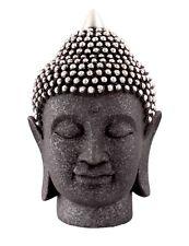 Black and Silver Resin Buddha Head Ornament 26.5cm Presents, Meditating, Salons